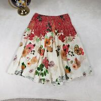 Casual Studio Floral Circle Gypsy Skirt 100% Cotton Stretch Waist Womens Medium