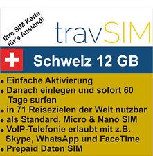 Schweiz Daten SIM + 12 GB für 60 Tage
