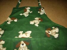 New Adult Apron  -  Cotton Bottle Green Dog Print