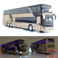 1:32 Alloy Double Layer Sightseeing Bus Model Cute Night View Collectible Toy