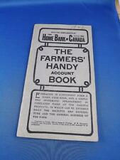 FARMERS HANDY ACCOUNT BOOK THE HOME BANK OF CANADA VINTAGE 1942 ? ADVERTISING