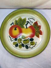 """Vtg Graniteware Fruit Apple Peach Lime Green Red Orange Enamel Round Platter 16"""""""