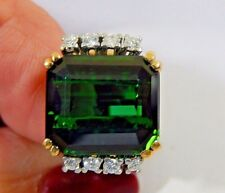 11.40ct FLAWLESS NATURAL VVS EMERALD CUT GREEN TOURMALINE G-VS DIAMOND 14K RING