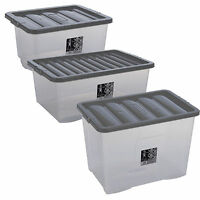 Wham Fusion Plastic Storage Box Boxes Clear Container Grey Lid 35-160 Litres