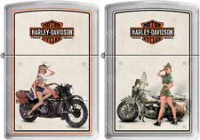Zippo HD Harley Davidson 1940 #039;s WWII US Army And Marines Pinup Lighter Set NEW