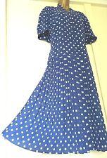Sz 20 Vtg Style 40s 50s Blue Polka Dot Print Tea Dress ~ WW2 Landgirl EU48