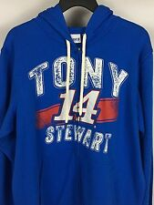 NWT NASCAR TONY STEWART Blue Full-Zip Hoodie Fleece Hooded Sweatshirt  Men's XL