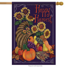 "Sunflower Cornucopia Thanksgiving House Flag Pumpkin Fall Double Sided 28"" x 40"""