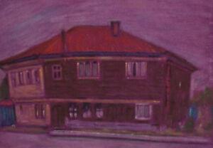 VINTAGE PASTEL PAINTING LANDSCAPE HOUSE