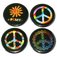 Hippie Rainbow Peace Symbols Fridge Magnets Set 55mm 4pc Hippy Flower Child