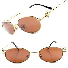 True Vintage Old Deadstock Funky Funny Mens Womens Gold Round Oval Sunglasses