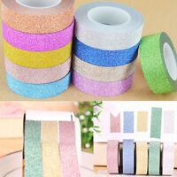 10m DIY Glitter Washi Sticky Paper Masking Adhesive Tape Label Craft Decorative