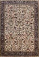 Vintage Floral Tebriz Hand-knotted Area Rug Dining Room Oriental Carpet 8x11 ft