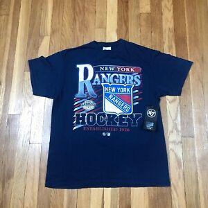 New York Rangers 47 Brand Women's Large Shirt. New NWT Blue Top. Vintage Tubular