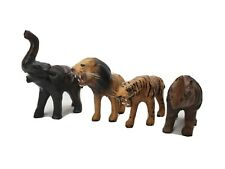 Vintage Hand Made Paper Mache and Leather Safari Animals Figurines