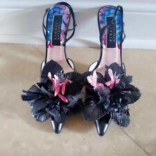 Christian Lacroix Black Leather Pointed Heels Large Flower Applique Sz 37.5