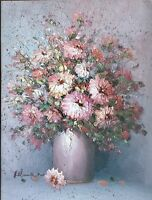 HELMAN ORIGINAL SIGNED VINTAGE OIL PALETTE KNIFE PAINTING FLOWERS IN VASE