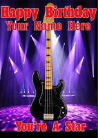 Precision Bass Guitar cptmi5 Happy Birthday Card A5 Personalised Greetings