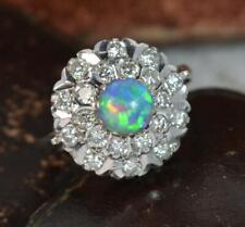 Stunning Black Opal & Diamond Platinum Cluster Ring