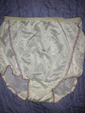 VINTAGE SEXY SISSY PANTIES WHITE NYLON PURPLE LACE TRIM SMALL