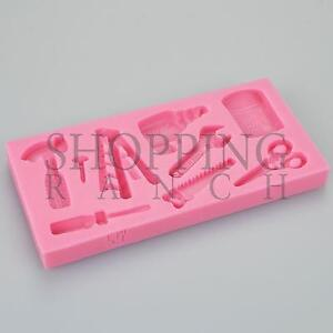 Builder Themed Tool Silicone Mould Cupcake Topper Decoration Ladder Screwdriver