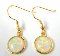 GORGEOUS  white   FIRE OPAL  GOLD PLATED    HOOK  EARRINGS