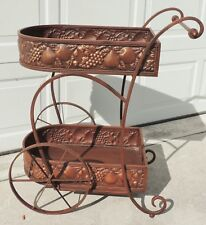 "Large 36"" Copper Fruit Design Iron Rolling Serving Wine Bar Tea Cart Server 3576"