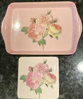 """Vintage Plastic Tray 8 X 5.5""""  Pink Roses Bouquet & Cork Backed Coaster"""