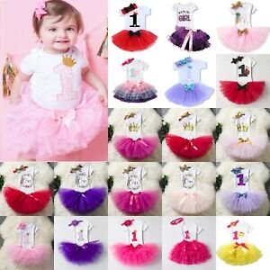 Baby Girl First 1st Birthday Outfit Tutu Skirt Dress +Headband Cake Smash Party