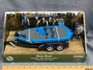 Big Country Toys Bass Fishing Boat Trailer SET 1:20 Scale Evinrude Outboard NIB