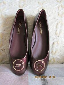 women JD WILLIAMS ballerina flat shoes burgundy size 6 new