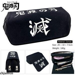 Demon Slayer Kimetsu no Yaiba Zip Penbag Student Stationery Bag Boy Pencil Case