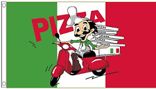 Pizza Delivery Man & Scooter 5'x3' Flag
