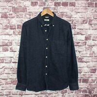 The Hill Side Men's Button Down Flannel Shirt Blue Cotton Size Large