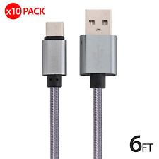 10x 6FT USB-C Type-C Data Sync Charger Charging Cable for Samsung Galaxy S8 S8+