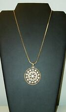 Light Blue Crystal Rhinestone Pendant Necklace Quality Gold Tone Chain