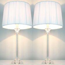 2x Elegant Designer Bedside Lamps - White Shades