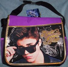 "Justin BIEBER Large Messenger Bag NeW Bieber's Girl 15""x11"" Book Bag Pockets NWT"