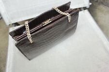 vintage Crocodile Skin Leather Dark Brown BAG CHAIN HANDLE HANDBAG EXECELLENT