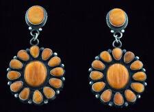 By Navajo Artist Tyler Brown Orange Spiny Oyster Cluster Earrings