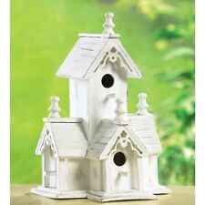 distressed shabby White Victorian Wood fairy garden Bird house birdhouse statue