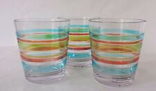 Set of 3 Striped Acrylic Drinking Cups Turquoise Green Red