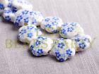 New 10pcs 15mm Flower Porcelain Ceramic Loose Spacer Beads Findings Light Blue