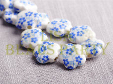 10pcs 15mm Flower Porcelain Ceramic Loose Spacer Beads Findings Light Blue
