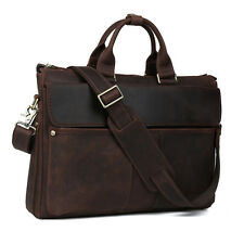 "Men's 16"" Laptop Briefcase Messenger Bag Office Business Meeting Genuine Leather"