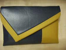 OVER SIZED  MUSTARD & NAVY BLUE asymmetrical faux leather, lined clutch bag. UK