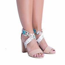 Women's Girls Ankle Sandals Peep Toe Block Heel Cross Strap Buckle Party Shoes
