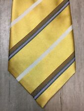 CANALI TIE Striped Neck Tie 100% Silk Italy Made Yellow White Brown Green Purple