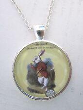 Alice In Wonderland White Rabbit Silver Pendant Glass Necklace New in Gift Bag