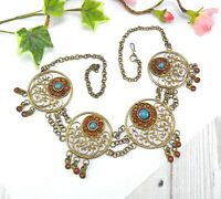 Vintage Filigree Necklace with Turquoise & Coral Glass Ethnic Boho
